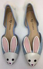 Katy Perry Bunny Rabbit Ballet Flats Sz 9 The Jessica-Glitter Blue/Pink Shoes