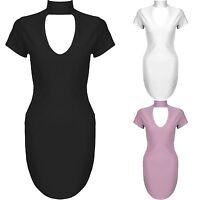 New Cut Out V Neck Choker Curved Hem High Neck Cap Sleeve Bodycon Mini Dress