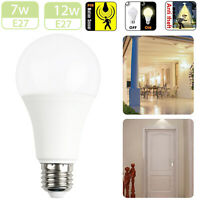 7W/12W PIR Motion Auto On/Off E27 Lamp Dusk to Dawn Sensor LED Bulb White Light