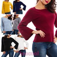 Maglione donna pullover taglio morbido manica lunga campana nuovo SA600241