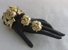 Vintage Gold Plated Large Extra Chunky Criss Cross& Balls Bracelet&Earrings Set