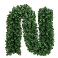 2.7M Hoilday Long Christmas Garland Pine Wreath Thick Fireplace Decor Cane Green
