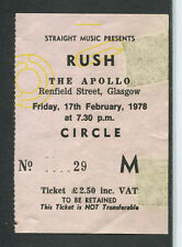 Original 1978 Rush Tyla Gang concert ticket stub Glasgow UK A Farewell To Kings