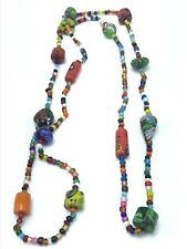 Vintage Murano Millefori Long Glass Bead Necklace