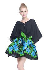 Poncho Dress Top Luau Tropical Cruise Hawaiian Tie Beach Plus Size Black Blue BD