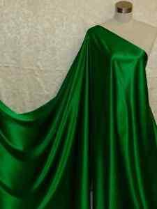 100% Silk Charmeuse Stretch Fabric Emerald Green Per Yard