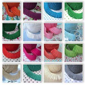Plain Pleated Trim Edging 30mm Cotton Fabric 20+ Colours - 1m/25m Wholesale