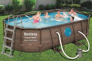 BESTWAY Power Steel Vista Pool Swimmingpool Rattan Optik + Zubehör 427x250x100cm