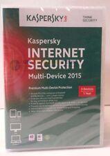 Kaspersky Internet Security 2015 Multi-dispositifs 3 Pièces DVD 1 An Mac/PC/