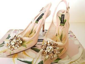 New Dolce & Gabbana Lilium Slingback Crystal Embellished Pump Eur 36.5/ US 6.5