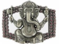 Gürtelschließe Gürtelschnalle  Ganesha Elefantengott versilbert u. lackiert