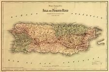 MAP ANTIQUE COLTON 1886 PUERTO RICO HISTORIC LARGE REPLICA POSTER PRINT PAM0838