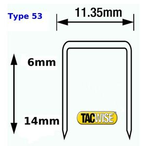 Tacwise Staples type 53  Galvanised 6 8 10 12 14 mm