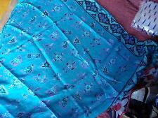HAND ROLLED VINTAGE TURQUOISE 100%  SILK SCARF MOD ABSTRACT FLORAL BORDER     10