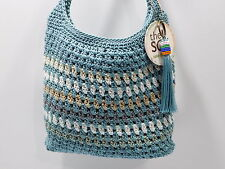 Nwt $ 49 The Sak Turquoise Multi-Color Hand Crocheted X-Body Bag