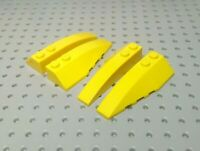 Lego Slope Curved Wedge 6x2 Left & Right [41747 & 41748] Yellow x2 Pairs