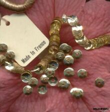Couture French Paris Antique Metal Sequins Gold micro 4mm Cupped tiny Doll size