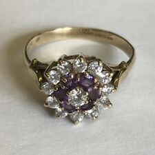 Vintage Solid 9ct Gold Amethyst Cubic Zirconia Dress Cluster Ring Size P1/2