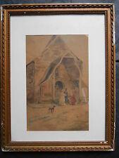 """Emile Normand SAINT-MARCEL 1840-1914  """"Les Mariés """" PEINTURE AQUARELLE"""".1903"""