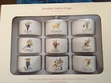 NEW in Box Pottery Barn REINDEER NAPKIN RINGS Holders set of 9
