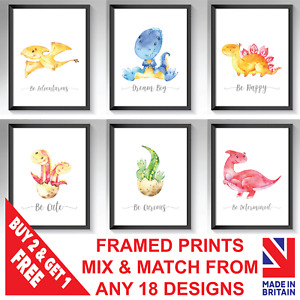 Dinosaur Nursery Framed Prints Set Baby Kids Room Dinosaurs Pictures Wall Art