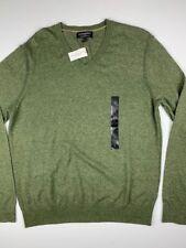 BANANA REPUBLIC Heather Cotton Yarn Mens V Neck Sweater Size L Green