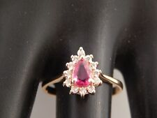 Thailand Electric Red Pear Ruby Diamond Engagement Ring Halo .74 tcw G/SI 14k YG
