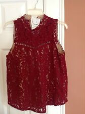 New with tag Lace dark red women sleevless top by Carolina Belle size S