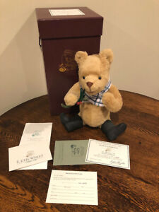 R. John Wright Holiday Winnie The Pooh Disney Teddy Bear Mohair Doll NEW IN BOX