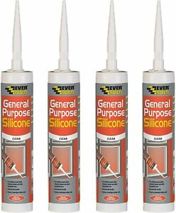4x Everbuild 280ml General Purpose Silicone Sealant Clear White MOULD RESISTANT