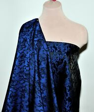 """SATIN BROCADE FABRIC ROYAL BLACK 58"""" FORMAL WEAR, HOME DECOR, SUITS, COSTUMES"""