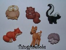 6 FOREST BABIES WOODLAND THEMED NOVELTY CRAFT BUTTONS - CARDMAKING/SEWING