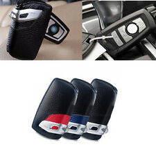 Genuine Leather Car Key Case Bag Chain Holder Cover Fob OEM For BMW