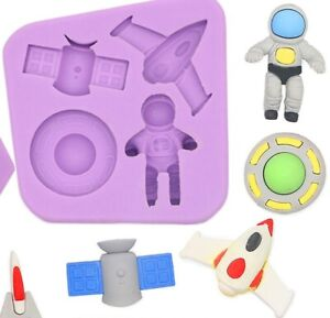 Space Travel Astronaut Rocket Spaceship Silicone Mould Resin Icing Ice cube Melt