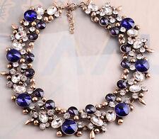 new design women gorgeous heavy blue mixed crystal bubble bib statement necklace