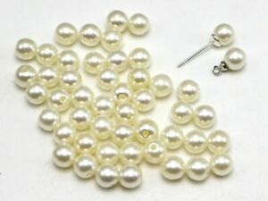 500 Ivory Plastic Round 6mm Half Drilled Faux Pearl Beads DIY Earring Pendants