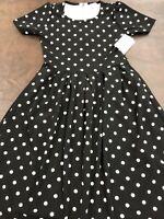 Lularoe Amelia Dress 👗Black White Polka Dots NWT 🦄 HTF Pleated Pockets Med M