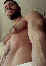 Shirtless Male Muscular Manly Hunk Hairy Chest Beard Beefcake PHOTO 4X6 F1373