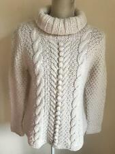 M&S Womens Cream Chunky Jumper With Wool Alpaca Size 14 (55)