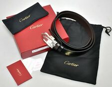 NEW Cartier Mans Leather C Decor Buckle Belt L5000152 Black/Brown Reversible