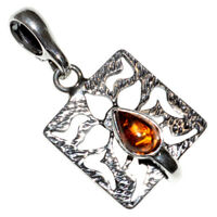 2g Authentic Baltic Amber 925 Sterling Silver Pendant Jewelry N-A428