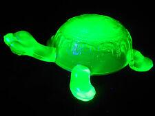 Green Vaseline glass Turtle firgurine uranium yellow art sea glows canary Ocean