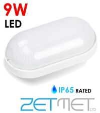 9W LED White Outdoor Security Exterior Bulkhead IP65 Garden Wall Light Lamp Bulb