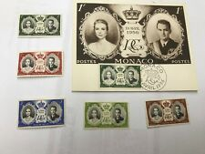 1956 Monaco Royal Wedding Post Card And Singles Lot 4050