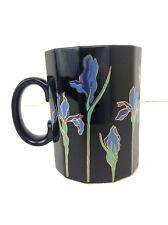 Otagiri Blue Iris Cup Mug Black Gold Accents Faceted Flowers Japan Vintage