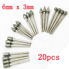 20Pcs 3mm Shank Diamond Grinding Burr Drill Bits Sets For Rotary Tools L7S