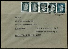 WWII II ERA GERMANY CHANCELLOR FRANKED 4X 1&  4 pfg STAMPS COVER LEIPZIG SEP '42