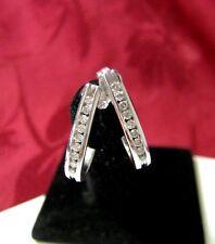 14K WHITE GOLD GENUINE 0.36 CTW DIAMOND PAVE HOOP STUDS EARRING 2.5 GRAMS