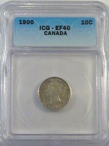 XF 1900 Silver 10¢ Cent CANADA ICG EF40. #12