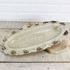 "ITALIAN FARMHOUSE Decor Stoneware Crackle Glaze Tray 14.5"" Rustic Modern Taupe"